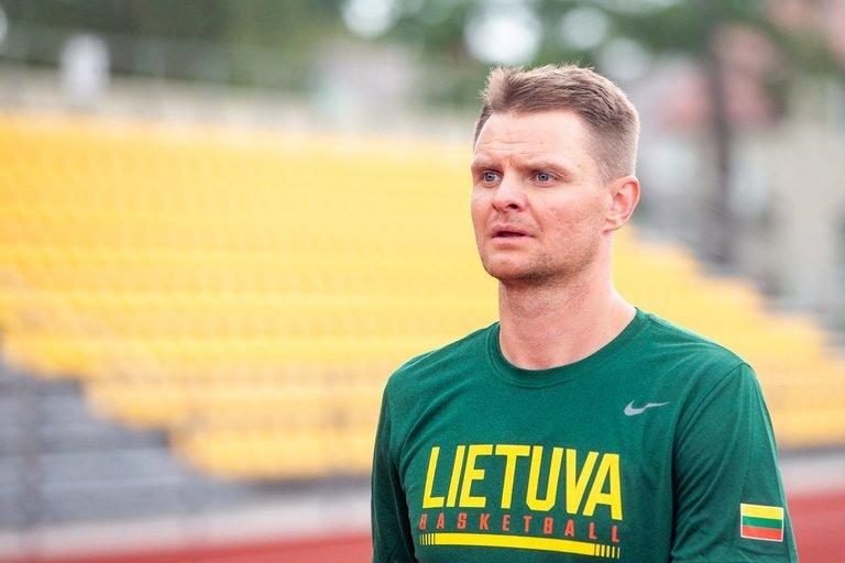 Pirmoji Lietuvos nacionalinės vyrų krepšinio rinktinės treniruotė (nuotr. Fotodiena/Justino Auškelio)