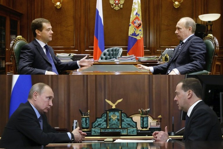 Rusijos prezidentas su premjeru, 2009-ieji ir 2019-ieji (nuotr. SCANPIX) tv3.lt fotomontažas
