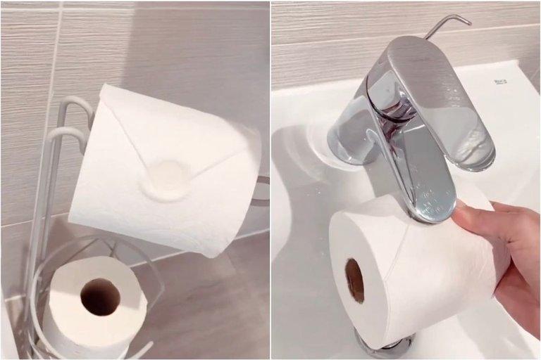 Žymioji ponia Hinč pasidalino genialiu triuku, kaip tualetinio popieriaus ritinėlį paversti viešbučio lygio interjero elementu su antspaudu (nuotr. Instagram)
