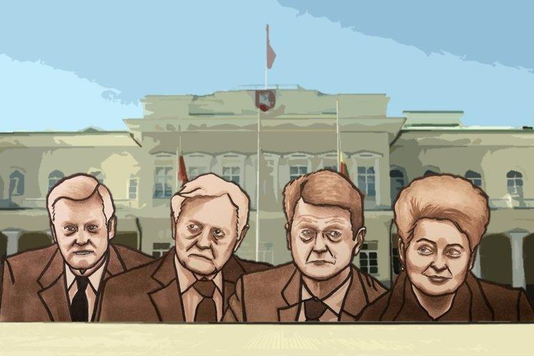 Algirdas Brazauskas. Valdas Adamkus. Rolandas Paksas. Dalia Grybauskaitė (Monikos Kasnikovskytės iliustr.)
