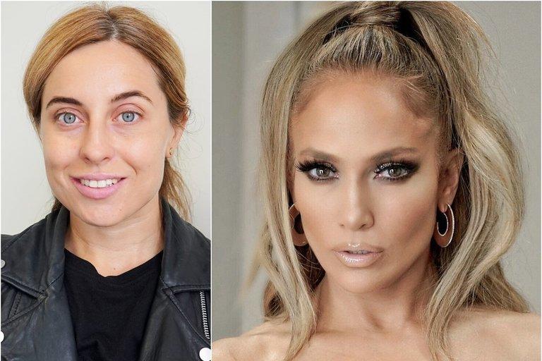 Olesia Žuravliova virto Jennifer Lopez (tv3.lt fotomontažas)