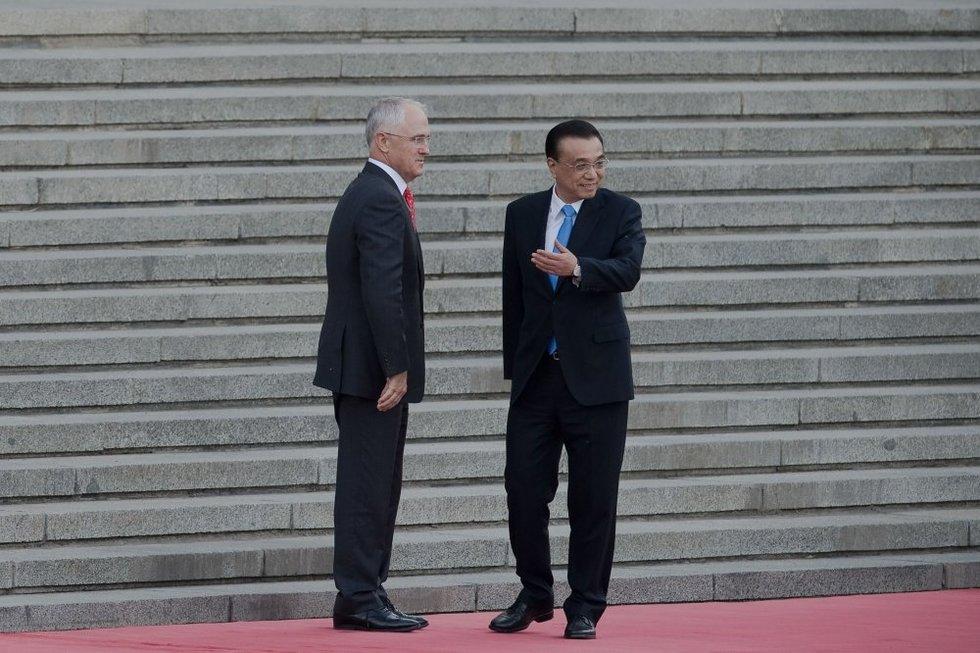 Australijos premjeras Malcolmas Turnbullas ir Kinijos premjeras Li Keqiangas (nuotr. SCANPIX)