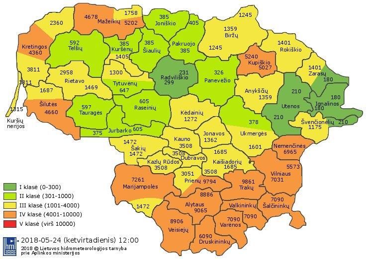 Žemėlapyje – miškų gaisringumas VĮ Valstybinių miškų urėdijos regioninių padalinių veiklos teritorijose