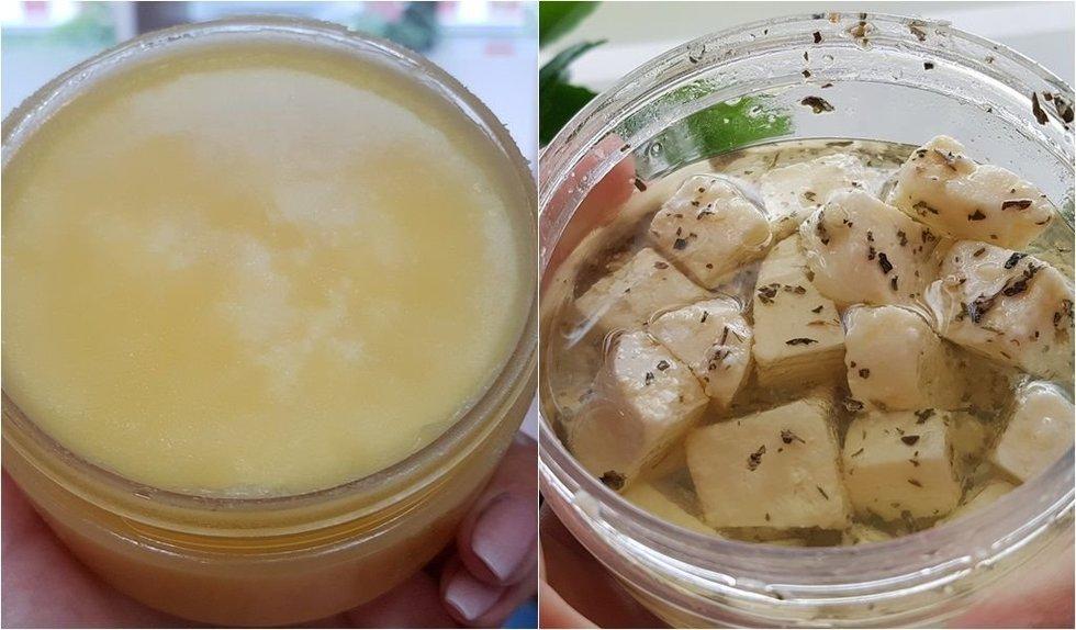 Ghee sviestas (kairėje) ir marinuoti sūrio gabalėliai su baziliku ir česnaku. Autorės nuotraukos