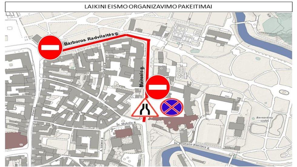 Barboros Radvilaitės gatvėje numatomi eismo ribojimai (nuotr. Vilnius.lt)
