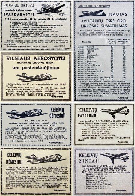 """Skrydžių iš Vilniaus reklamos spaudoje 1955-1964 m. (nuotr. iš D. Pocevičiaus knygos """"Istoriniai Vilniaus reliktai 1944-1990 m."""")"""