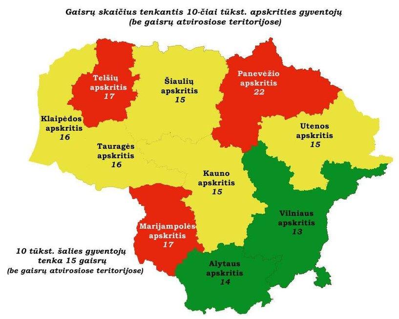Gaisrų žemėlapis (Priešgaisrinės apsaugos ir gelbėjimo departamentas)