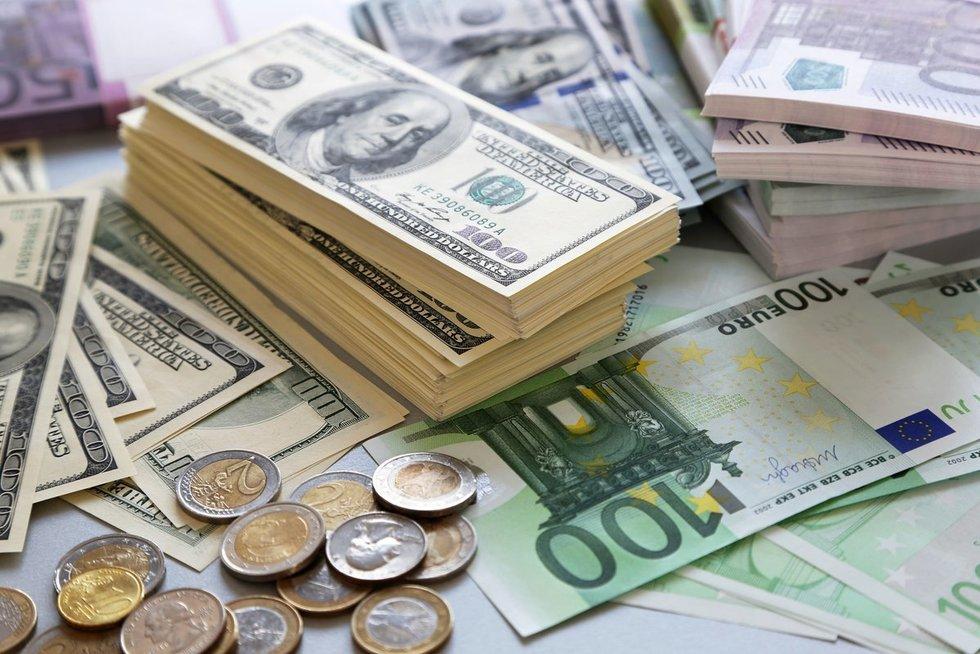 Eurai ir doleriai (nuotr. 123rf.cm)
