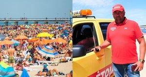 Palangos gelbėtojų vadovas Jonas Pirožnikas teigė, kad paplūdimiuose tiek žmonių dar nebuvo (tv3.lt fotomontažas)