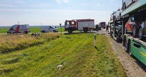 Košmaras kelyje prie Kėdainių: 26-erių vairuotojo automobilis buvo sutraiškytas dviejų vilkikų (nuotr. TV3)