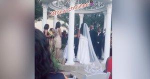 """Nuotakos košmaras: vestuvių ceremonijoje jaunikio """"meilužė"""" rėžė, kad laukiasi jo vaiko (nuotr. stop kadras)"""
