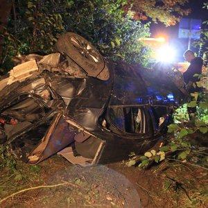 Vilniuje BMW įlėkė į mišką, vienas jaunuolis žuvo