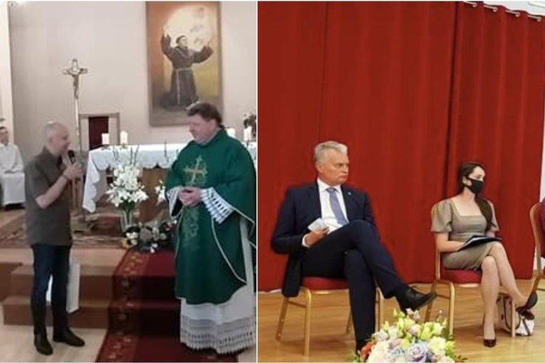 A. Veryga ir G. Nausėda viešose uždarose patalpose pastebėti be kaukių