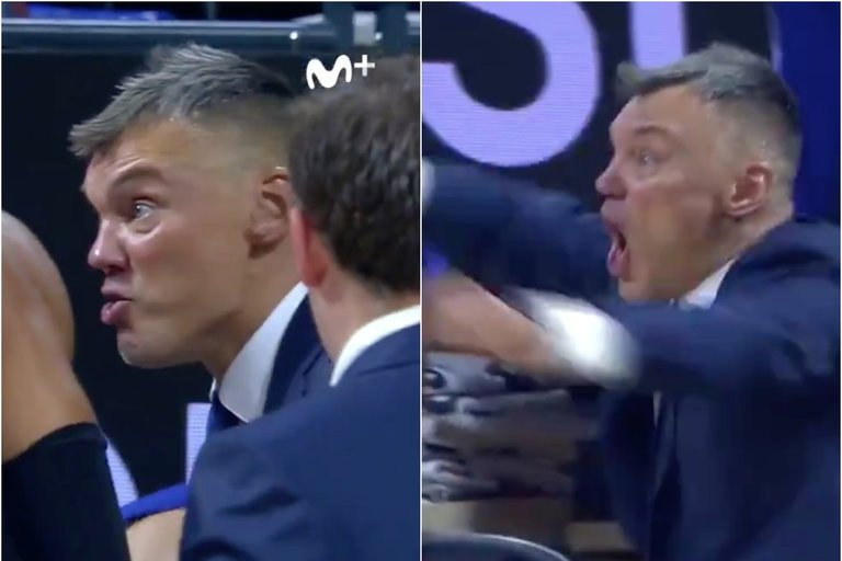 Jasikevičiaus emocijos (nuotr. Twitter)