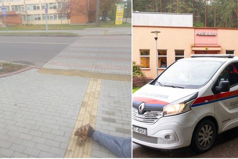 Nors poliklinika buvo už kelių metrų, vyras medikų pagalbos sulaukė ne iš karto (tv3.lt koliažas)