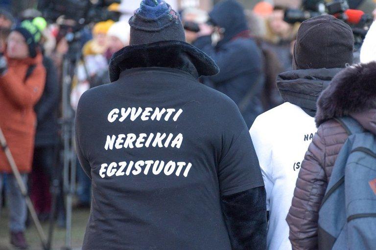 Mokytojai mitingavo prie Seimo (nuotr. Fotodiena.lt)