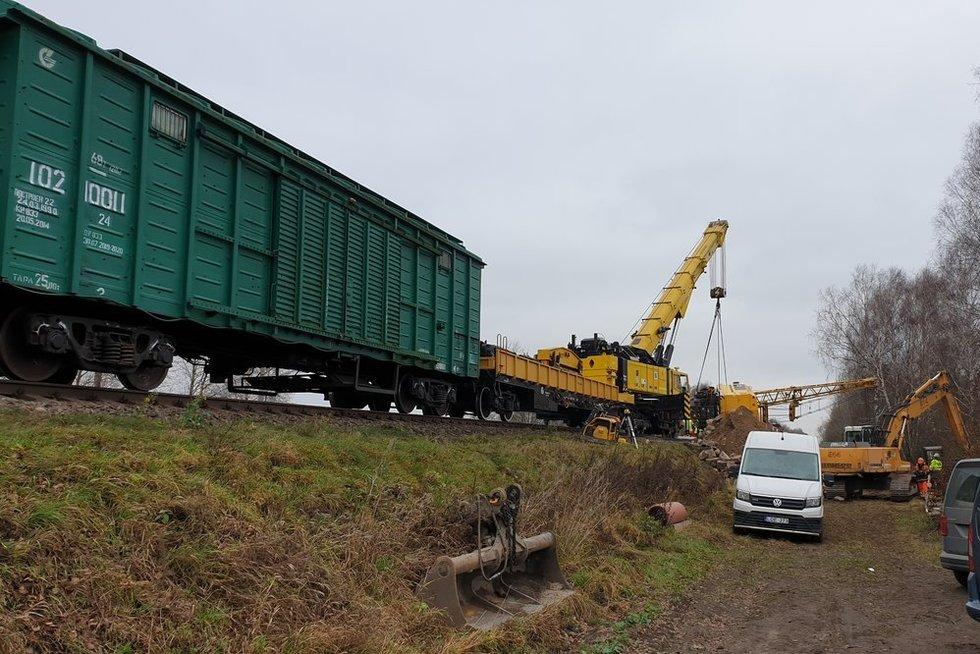 Netoli Bagotosios nuvirto geležinkelio kranas (nuotr. TV3)