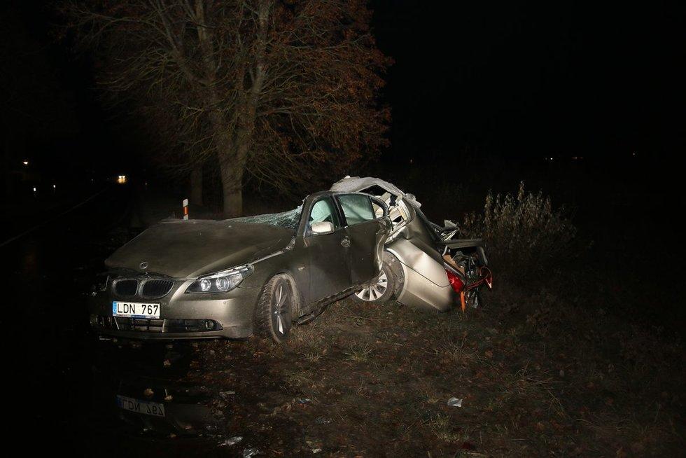 Tragiška nelaimė Vilniuje – BMW rėžėsi į medį, žuvo jaunas vaikinas