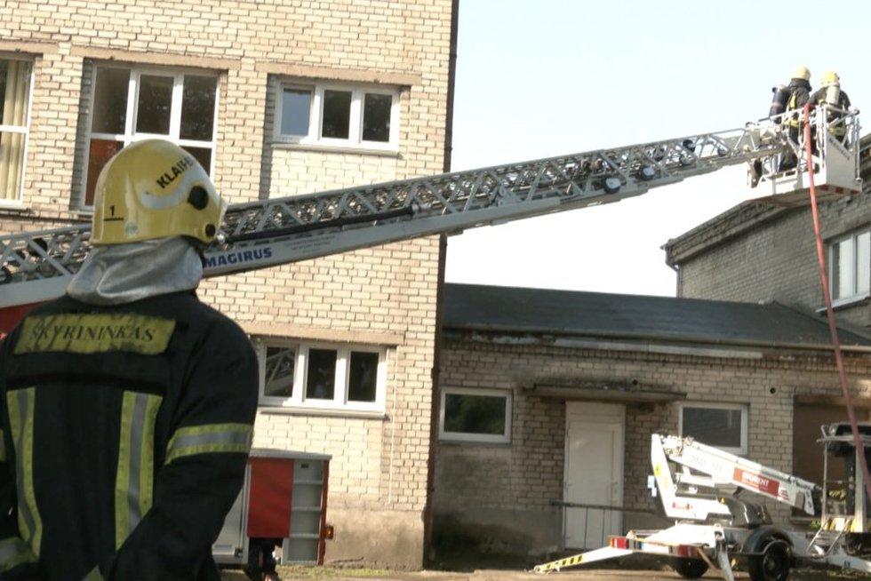 Klaipėdoje užsidegė mokykla: vaikai evakuoti, bet kai kurie verkė (nuotr. stop kadras)