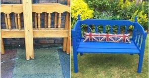 """Dviejų vaikų mama iš Ličfyldo, Didžiosios Britanijos, Elizabeth Jones (59) išbandė savo """"pasidaryk pats"""" darbų sugebėjimus, nusprendusi iš palėpėje rastos senos dviaukštės lovos pasigaminti suoliuką. (nuotr. facebook.com)"""