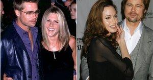 Brad Pitt su Jennifer Aniston ir Angelina Jolie (nuotr. SCANPIX) tv3.lt fotomontažas