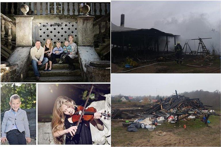 Gausios Marčiukaičių šeimos namus ugnis suniokojo iki pamatų (nuotr. facebook.com)
