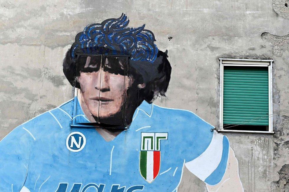 Diego Maradonos atvaizdas ant sienos Neapolyje (Italija).