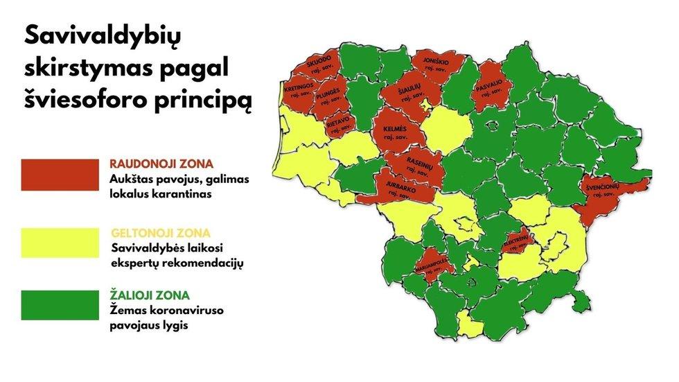 Savivaldybių skirstymas pagal Covid-19 zonas (nuotr. SAM)