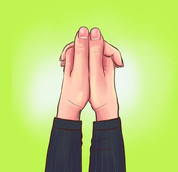 Abiejų rankų nykščiai sulygiuoti