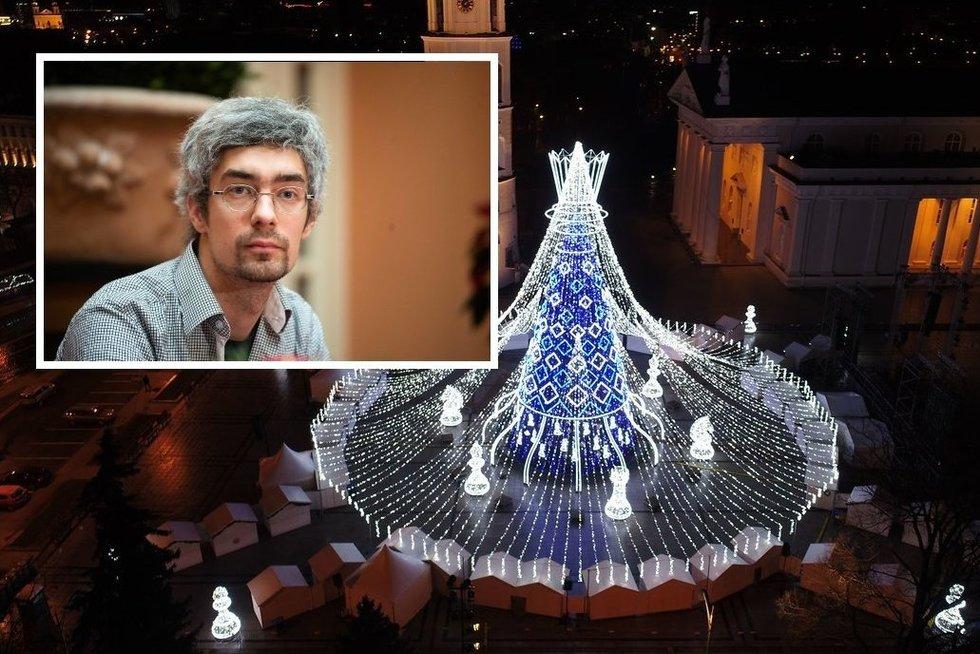 Vienas iš sostinės eglutės kūrėjų D. Koncevičius  (tv3.lt fotomontažas)