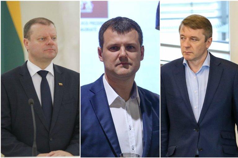 Saulius Skvernelis, Gintautas Paluckas, Ramūnas Karbauskis (nuotr. fotodiena.lt, tv3.lt fotomonatažas