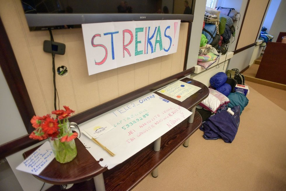 streikuojantys mokytojai ŠMM (nuotr. Arnas Strumila/Fotodiena.lt)