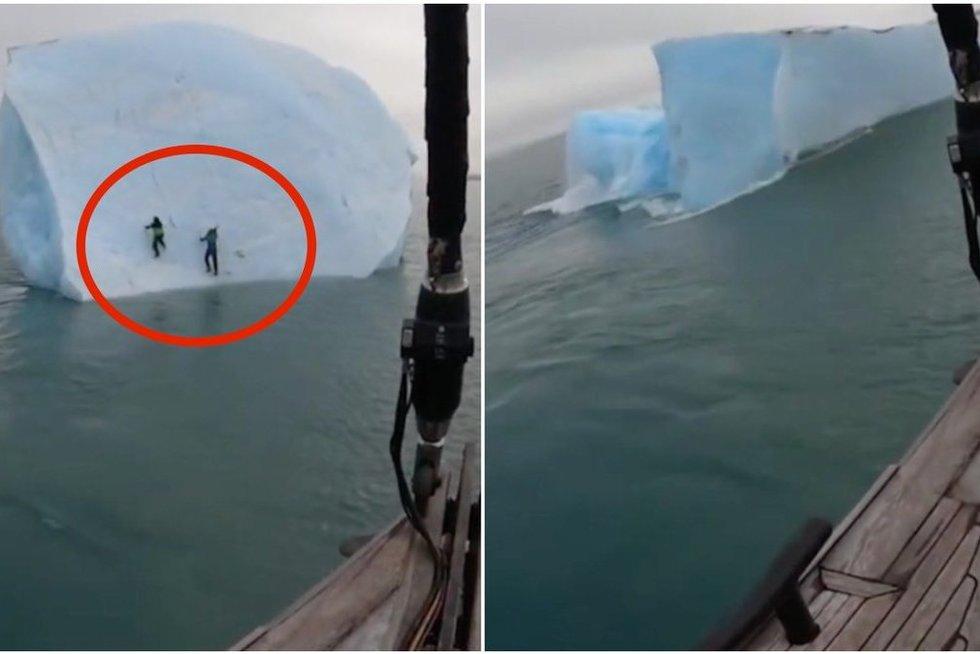 Kraują stingdanti tyrinėtojų akistata su mirtimi: apvirtęs ledkalnis vyrus nubloškė į jūrą (nuotr. stop kadras)