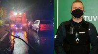Didvyriškas Telšių policininko poelgis: iš gaisro išnešė 3-metę mergytę (nuotr. tv3.lt koliažas)