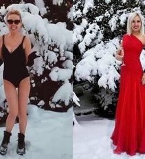 62-ejų Bunikienei nebaisus joks šaltis: su maudymosi kostiumėliu ir šokio žingsneliu šoko į pusnis