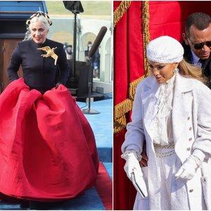 Istorinės akimirkos metu akys krypo ir į garsenybes: JLo ir Lady Gaga spindėjo prabanga