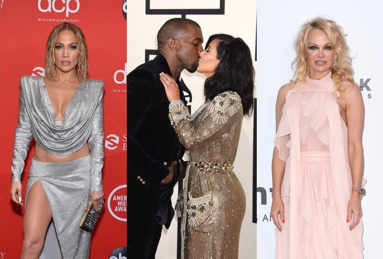 Jennifer Lopez, Kim Kardashian ir Kanye West, Pamela Anderson (nuotr. SCANPIX)