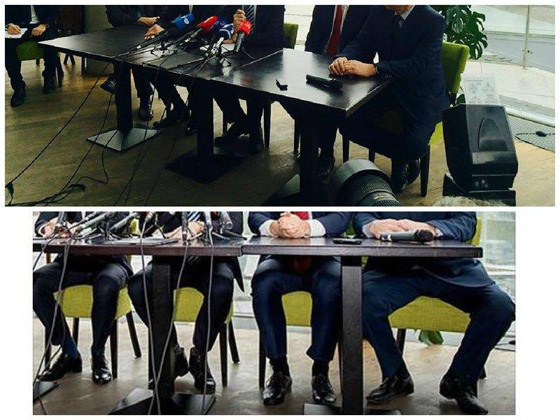 Politikų kojos spaudos konferencijoje (balsas.lt montažas)
