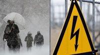 Dėl pūgos tūkstančiams dingo elektra (tv3.lt fotomontažas)