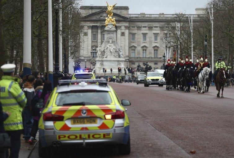 Londone prie Bakingamo rūmų sulaikytas įtartinas mikroautobuso vairuotojas (nuotr. SCANPIX)