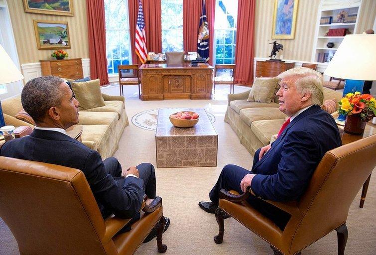 Donaldas Trumpas ir Barackas Obama (nuotr. wikipedia.org)