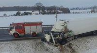 Tragiškos vilkikų avarijos vaizdai iš drono (nuotr. stop kadras)