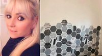 Nichola Hughes (35), vieniša mama ir slaugytoja iš Durhemo, Didžiosios Britanijos, už mažiau nei 7 £ transformavo sūnaus kambarį, naudodama lipnius tapetus ir spalvotą lipnią juostą (nuotr. facebook.com)