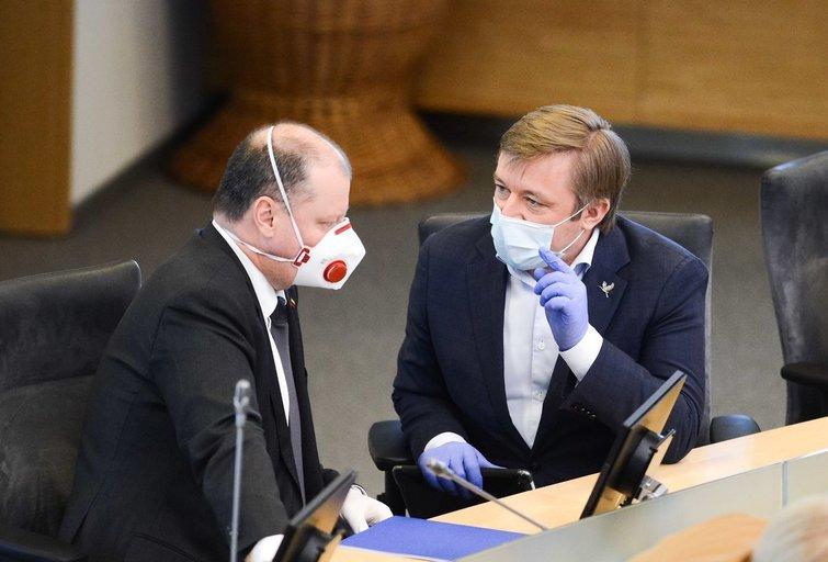 S. Skvernelis ir R. Karbauskis (nuotr. Fotodiena/Justino Auškelio)