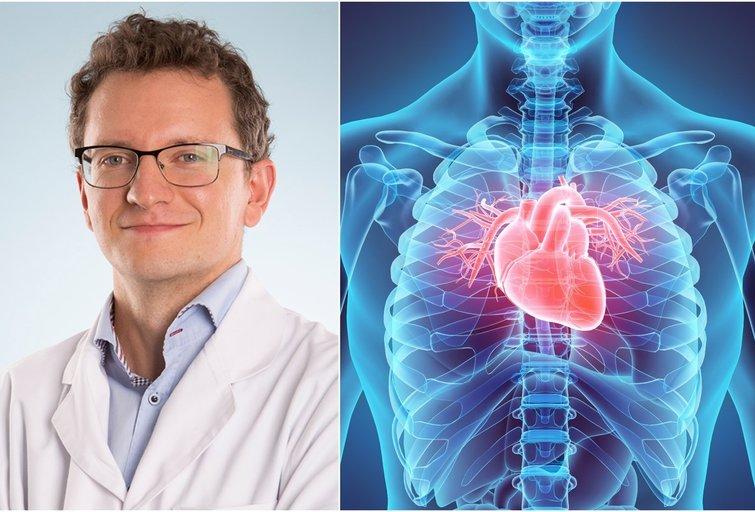 Kardiologas Paulius Trinkauskas pažymi, kad kokia sudėtinga bebūtų padėtis dėl naujojo viruso plitimo, pagalba širdies ir kraujagyslių sistemos ligomis sergantiems žmonėms visuomet prieinama.  (tv3.lt fotomontažas)