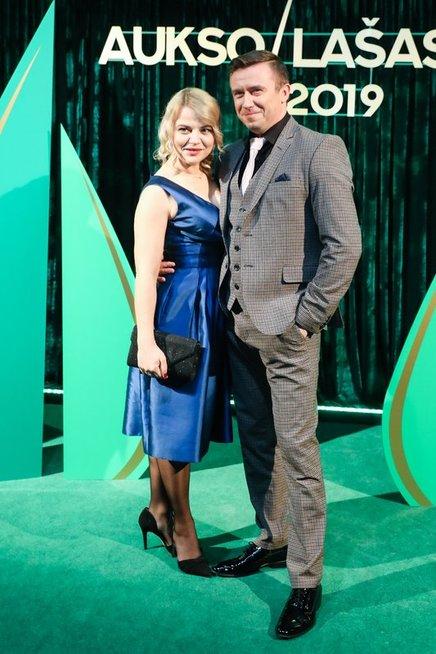 Marius Jampolskis su žmona Renata