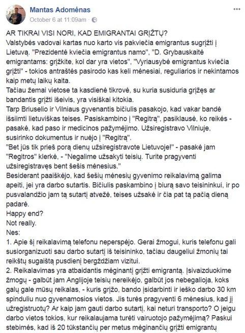 Manto Adomėno įrašas. (facebook.com)