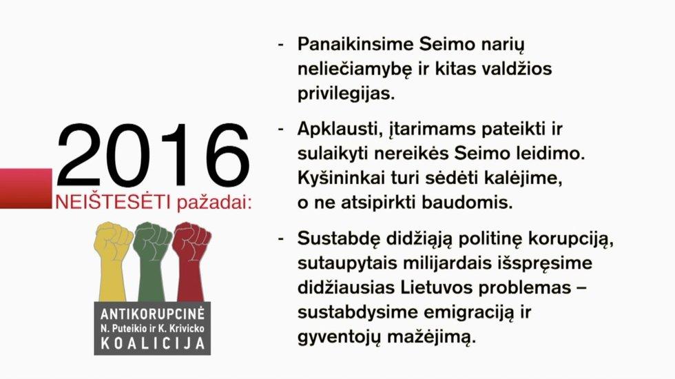 """Neištesėti """"Antikorupcinės N. Puteikio ir K. Krivicko koalicijos"""" pažadai"""