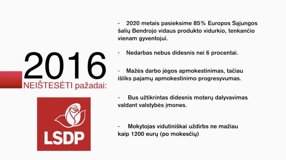 Neištesėti Socialdemokratų partijos pažadai