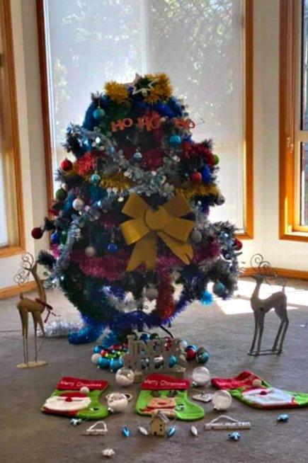 Moteris iš Australijos bandė įrodyti, kad kalėdinių papuošimų galima pasigaminti ir patiems (Nuotr. facebook.com)